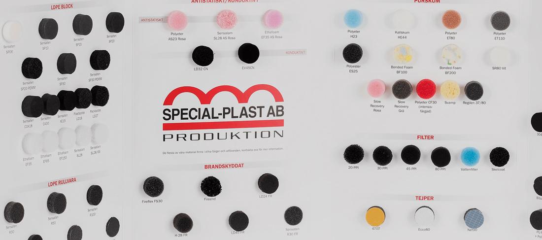 Provkarta med plast och gummi från Special-Plast AB closeup